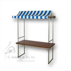 Partykraam / marktkraam met blauw-wit luifel