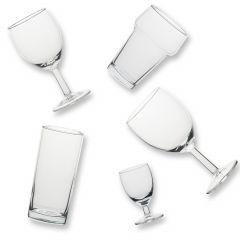 Partykratje glaswerk 6 borrel 12 wijn 6 longdrink 8 bierglas
