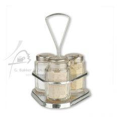Peper zout en mosterd stel glas in houder