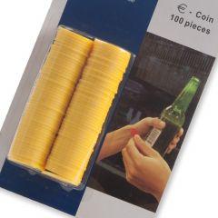 Consumptiemunt kunststof Geel 100 stuks