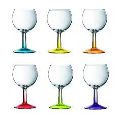 Wijnglas met gekleurde voet (6 stuks)