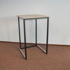 Kubo statafel zwart met houtlook blad 70x70x110-1030175